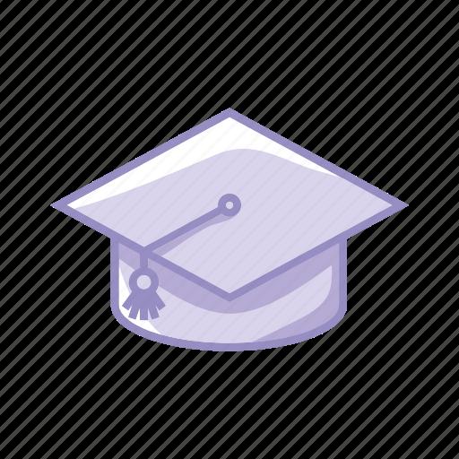 certification, degree, hat, learn, purple, school icon