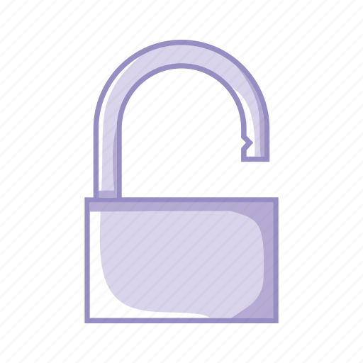 open, padlock, protection, purple, security icon