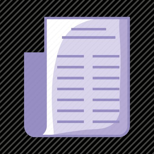 diploma, file, paper, purple icon