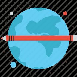 education, elearning, global, globe, learning, planet, study icon
