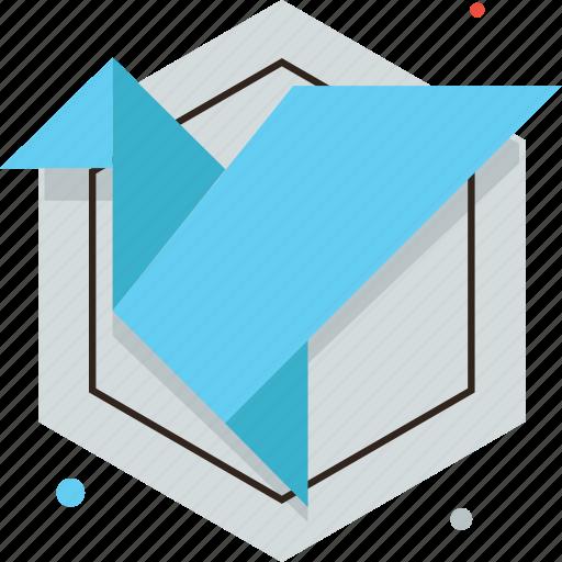 bird, craft, folded, mastery, origami, paper, skill icon