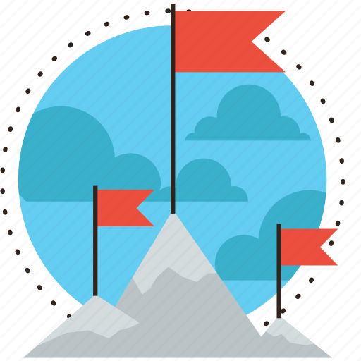 career, challenge, climb, conquer, flag, goal, mission, mountain, peak icon