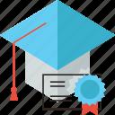 certified, graduate, graduation, mortarboard, scholar, specialist, student icon