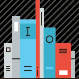 books, education, literature, school, shelf, stack, study icon
