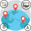 cooperation, education, global, globe, map, move, network, travel icon