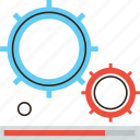 bar, engineering, execution, gear, machine, process, progress icon