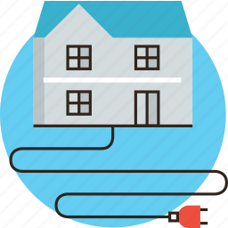 building, current, electricity, energy, home, house, plug, supply icon