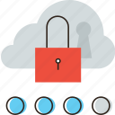 access, cloud, data, database, lock, protection, security, server icon