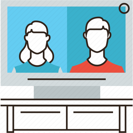 broadcast, call, communication, conference, discussion, people, screen, telepresence, video icon