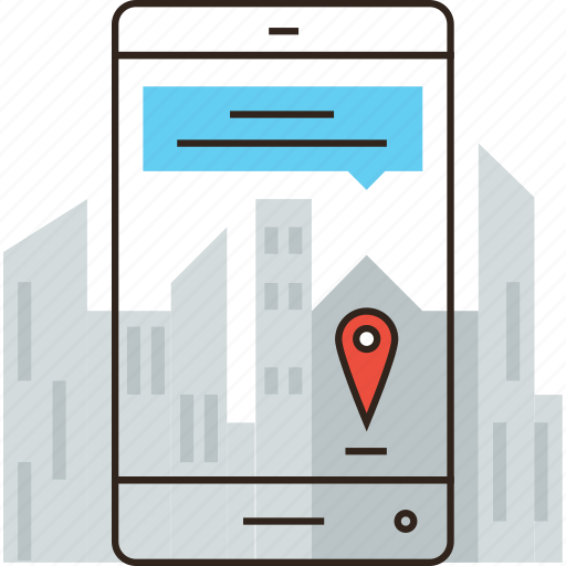 app, application, augmented, city, map, marker, phone, reality, smart icon