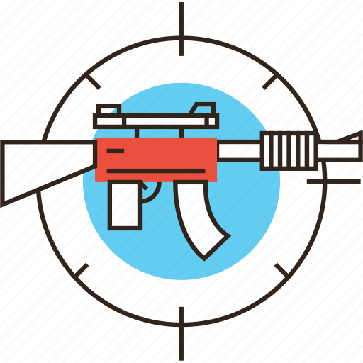 automatic, gaming, military, rifle, target, virtual, war, weapon icon