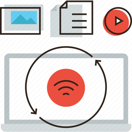 access, apps, business, computer, content, data, media, sync, work icon
