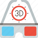 3d, cinema, film, glass, glasses icon