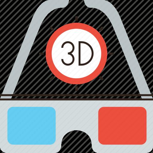 3d, cinema, film, glass, glasses icon