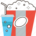 box, cinema, coke, drink, fastfood, food, popcorn, snack icon