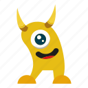 character, horn, mascot, monster cartoon icon