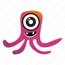 cartoon, monster, squid icon