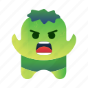 character, cute, green, hero, mascot, monster, strength icon