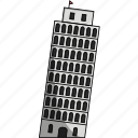 italy, leaning tower of pisa, monument, pisa, pisa tower, pizza tower, tower icon