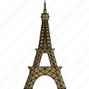 eiffel, eiffel tower, france, monument, paris, tower, wonders icon