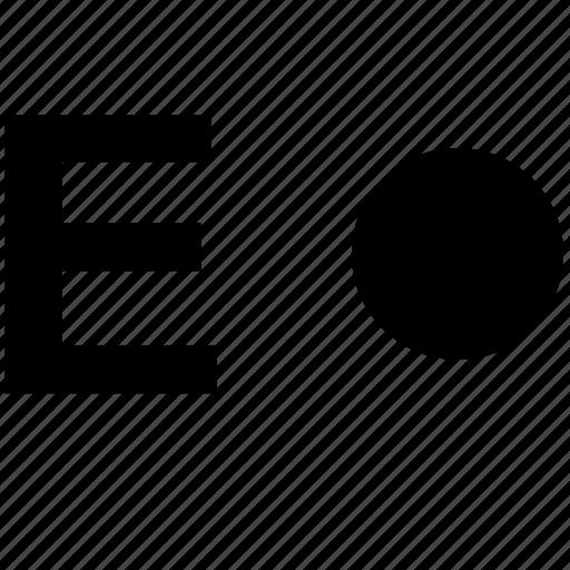 alphabet, e, letter, morse icon