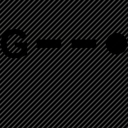alphabet, g, letter, morse icon