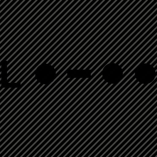 alphabet, l, letter, morse icon