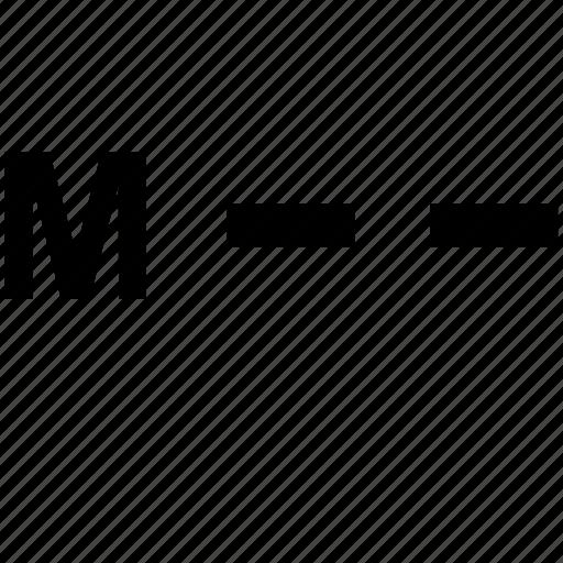 alphabet, letter, m, morse icon