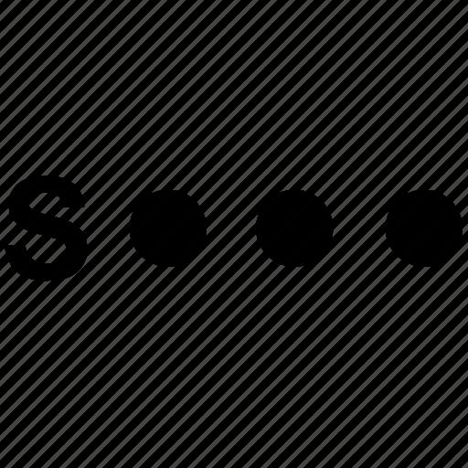 alphabet, letter, morse, s icon