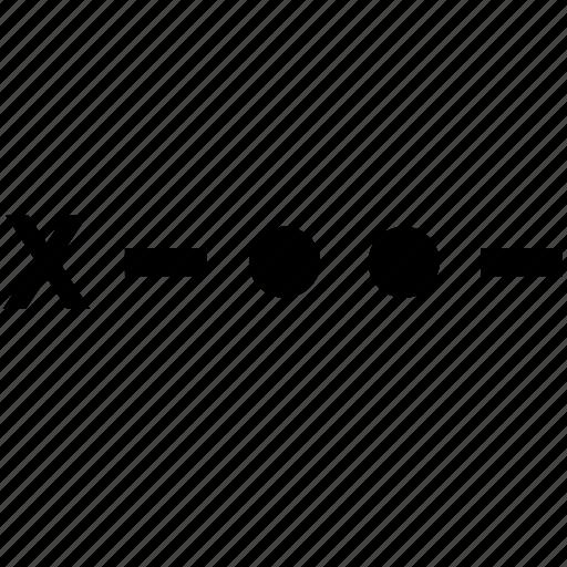 alphabet, letter, morse, x icon