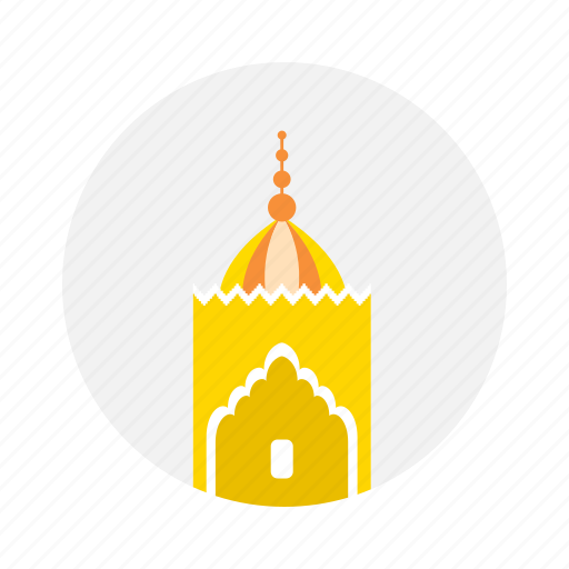mosque, silo, yellow icon