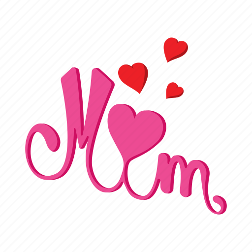 cartoon, day, heart, holiday, love, mother, word icon