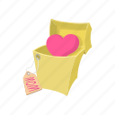 bow, box, card, cartoon, celebrate, decoration, heart icon