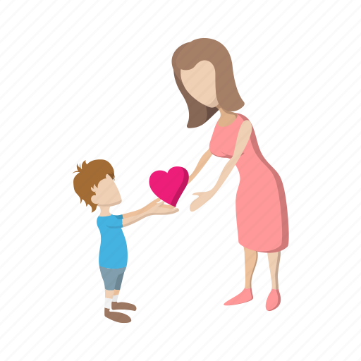boy, cartoon, family, heart, love, mother, parent icon