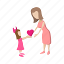 cartoon, family, girl, heart, love, mother, parent icon