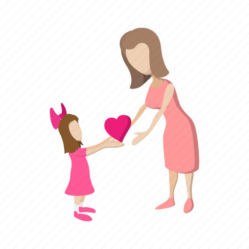 cartoon, family, girl, heart, love, mother, parent icon