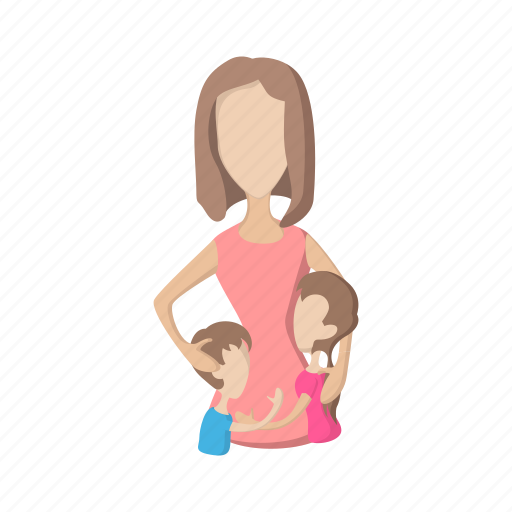 boy, cartoon, family, girl, happy, love, mother icon