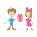 boy, cartoon, gift, girl, love, present, surprise icon