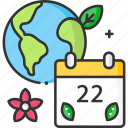 calendar, earth day, earth globe, ecology, time and date icon