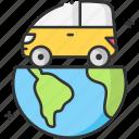 car, earth, eco car, nature, save energy icon