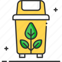 ecology, garbage, plastic bin, recycled plastic bag, recycling bin icon