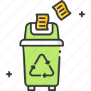 enviroment, green earth, paper, paper recycle, recycle, recycle bin icon