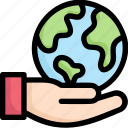 earth day, earth on hand, ecology, environment, mother, nature, save earth icon