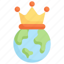 earth day, earth with crown, ecology, environment, king, mother, nature icon