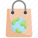earth day, earth on bag, eco friendly, ecology, environment, mother, nature icon