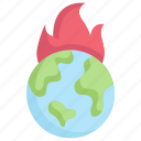 earth day, earth on fire, ecology, environment, global warming, mother, nature icon