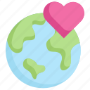earth day, earth on heart, ecology, environment, love, mother, nature icon