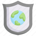 earth day, earth on shield, ecology, environment, mother, nature, protection icon