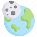earth day, earth with moon, eclipse, ecology, environment, mother, nature icon