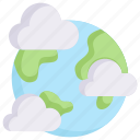 earth day, earth with clouds, ecology, environment, globe, mother, nature icon